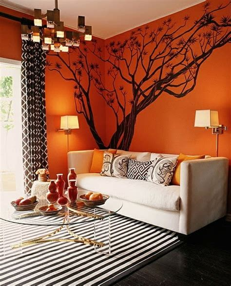 Living Room Ideas Brown Sofa Color Walls by 60 Wandfarbe Ideen In Orange Naturinspirierte Gestaltung