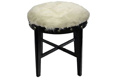 white faux fur stool vintage deco stool with faux fur omero home 1297