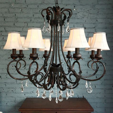 dramatic 8 light fabric shade modern chandelier