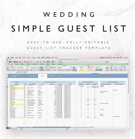 wedding guest list spreadsheet wedding guest list tracker