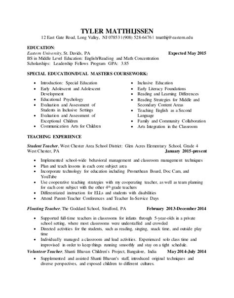 Student Teaching On Resume by Student Teaching Resume Edit