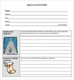 Sample Skills Inventory Template