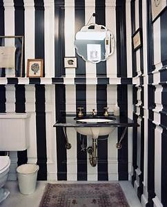 Striped Powder Room - Contemporary - bathroom - Lonny Magazine