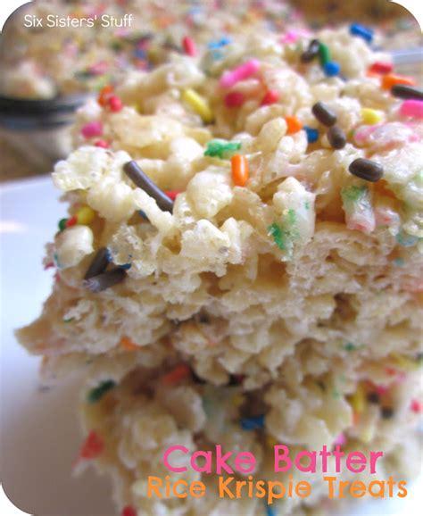 rice krispies treats recipe cake batter rice krispie treats recipe six sisters stuff