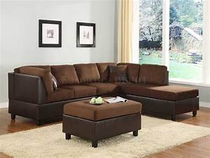Chocolate microfiber sectional sofa set with chaise for Red and brown sectional sofa