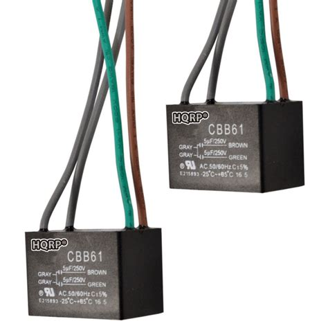 2 pack hqrp capacitor for hton bay ceiling fan cbb61 5uf 5uf 4 wire ebay