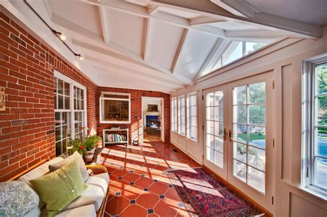 traditional style sunroom includes french doors  french