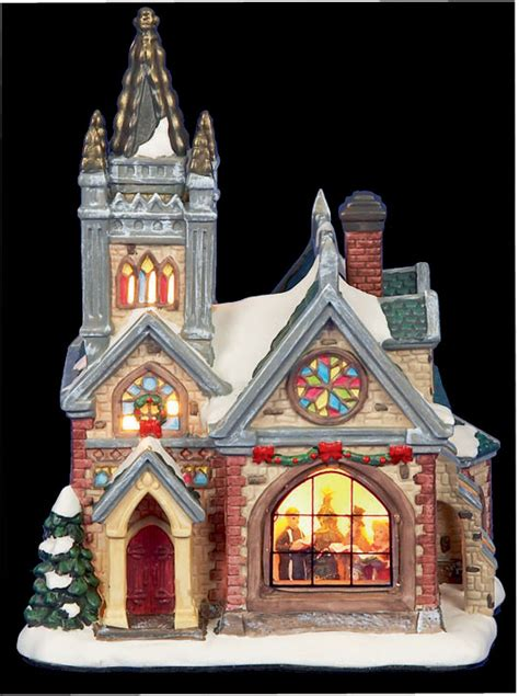 light up ceramic christmas church christmas decoration