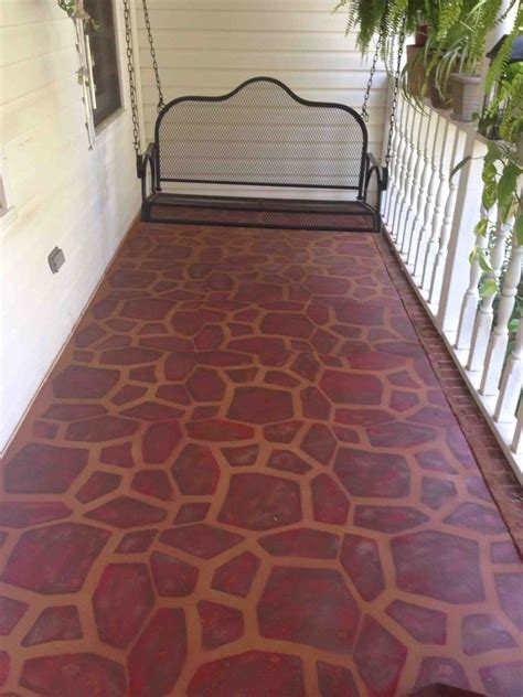hometalk painted concrete porch   stone stencil