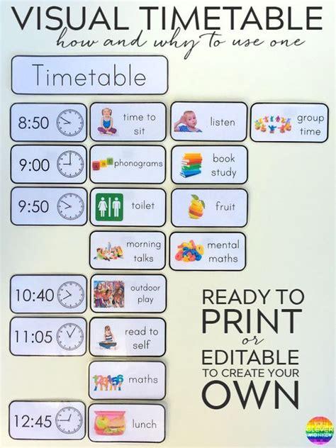 printable editable visual timetable cards