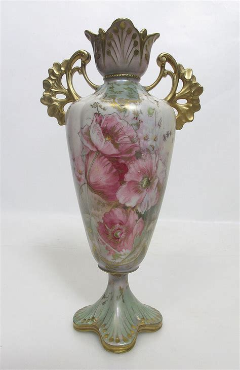 Rs Prussia Vase by Antique C 1899 Rs Prussia Porcelain Pink Floral Vase