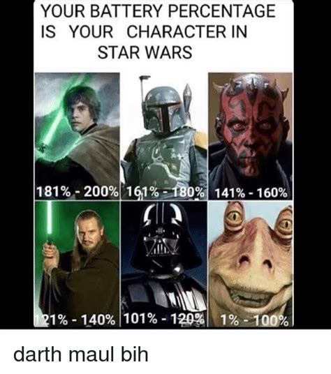 Darth Maul Meme - your battery percentage is your character in star wars 1 81 200 1 61 180 1 41 160 1 140