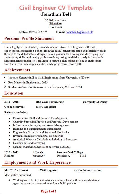 Curriculum Vitae Format For Civil Engineers by Civil Engineer Cv
