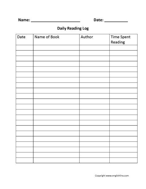 reading worksheets reading logs