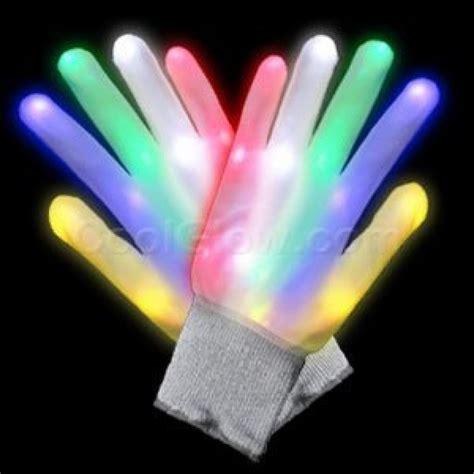 led glow   dark light  rainbow raver gloves