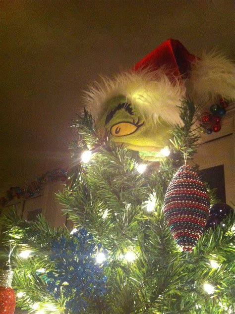 grinch tree topper winter decorations pinterest