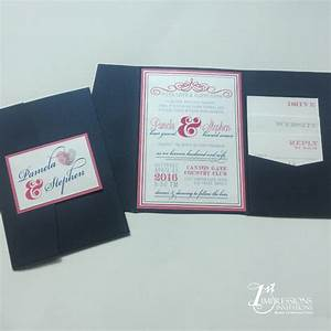 1st impressions invitations eclectic blue and pink With m and s wedding invitations