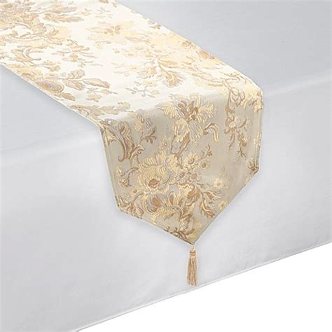 waterford linens marcelle table runner  ivory bed bath