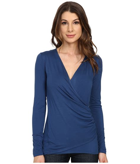 lyst karen kane long sleeve faux wrap top  blue