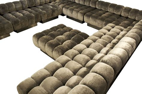 Lovable Grey Velvet U Shaped Tufted Sectional With Square