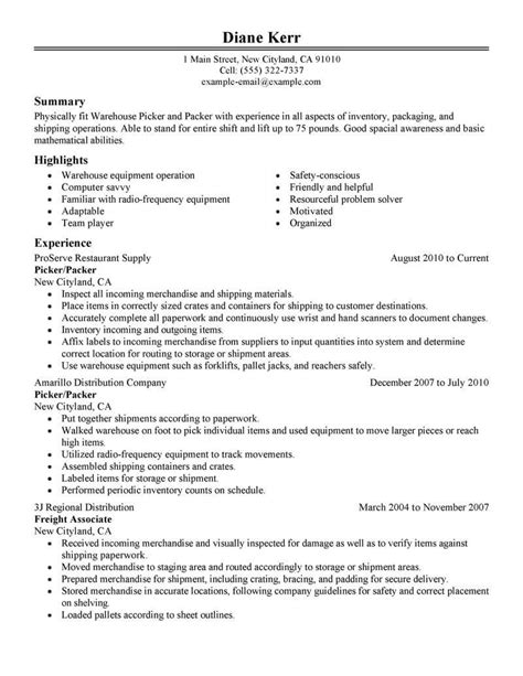 Picking And Packing Resume by Best Picker And Packer Resume Exle From Professional