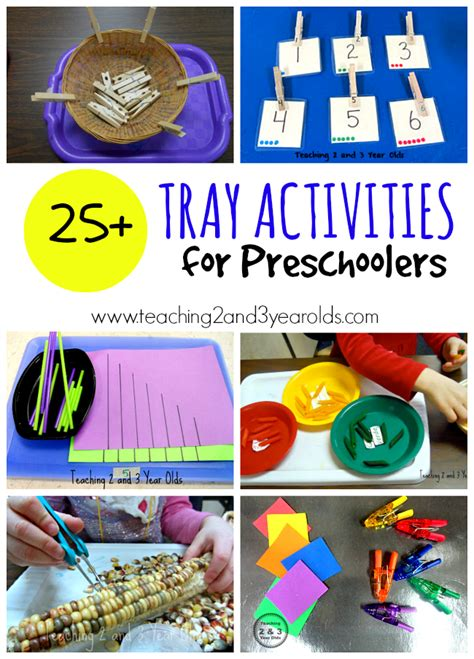 learning activities for preschoolers teaching 2 and 3 627 | tray activities header