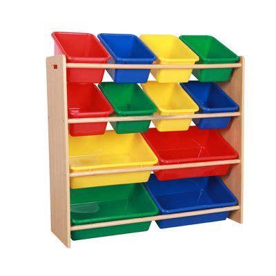 teamson kids toy organizer shelf  plastic bins  toy