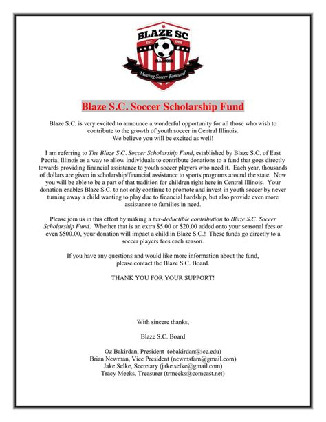 sample scholarship fund donation request letter  word