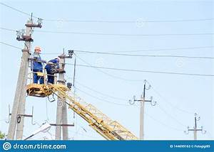 Electricians Repair The Power Line With A Lift  Repair