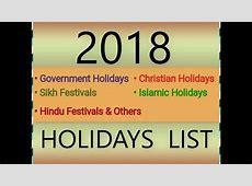 2018 GOVERNMENT,HINDU,SIKH,ISLAMIC,CHRISTIAN HOLIDAYS LIST