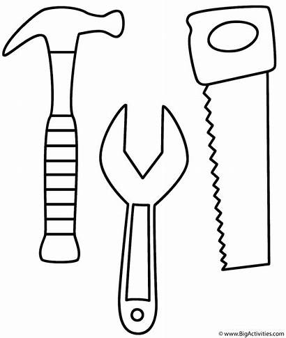 Coloring Labor Hammer Wrench Saw Tools