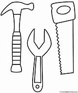 Coloring Labor Hammer Wrench Saw Tools sketch template