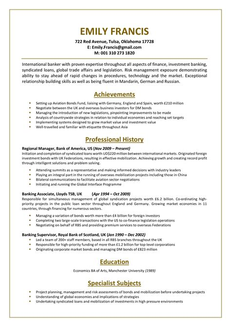 Bank Resume by Bank Resume Sle For The Professional