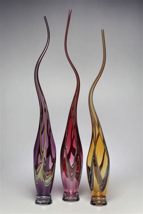 "Victor Chiarizia Glass Sculptures ""Swans - Amethyst ..."