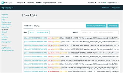 Access Logs, Improved Log Filtering Now In Wp Engine User