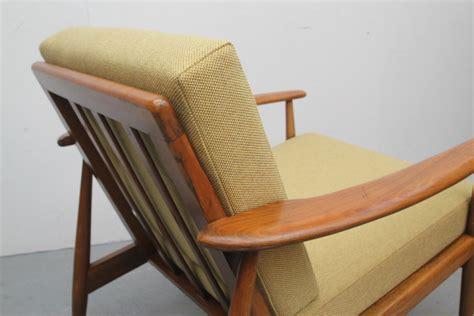 Scandinavian Armchair In Yellow Fabric And Walnut