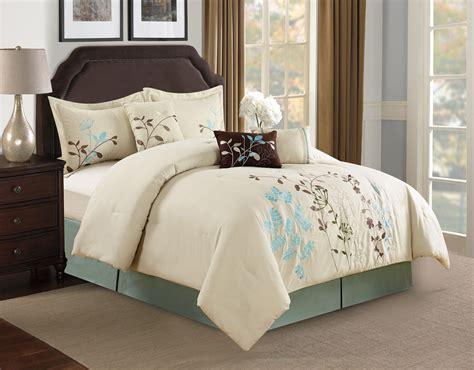 embroidered comforter set 7 beige floral embroidered comforter set ebay