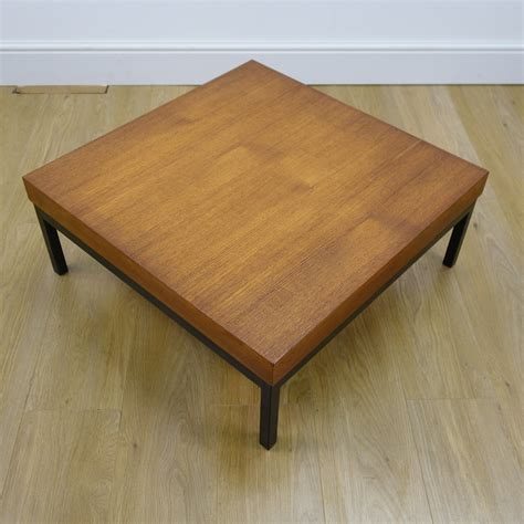Frequent special offers and discounts up to 70% off for all products! Square teak low coffee table on black steel legs - Mark Parrish Mid Century Modern