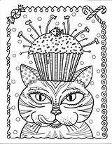 Cupcake Cat Coloring Instant Pages Colouring Cupcakes Cats Adult Fun sketch template