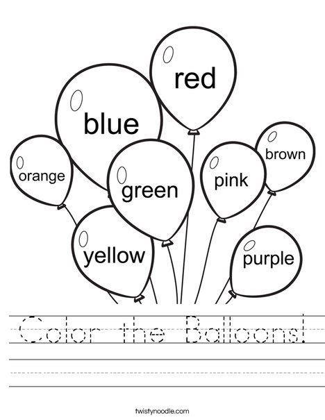 color  balloons worksheet coloring worksheets  kindergarten preschool worksheets