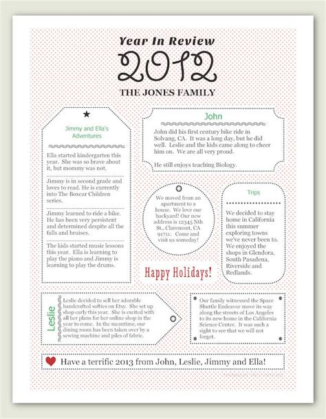 year  review christmas letter  template gift