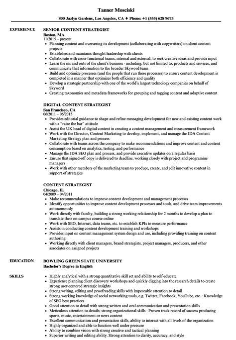 Resume Content by Content Strategist Resume Sles Velvet