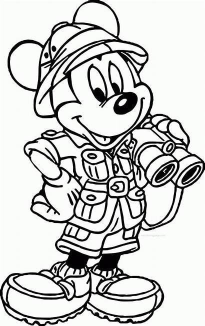 Coloring Disney Mickey Safari Animal Mouse Kingdom