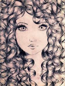 girl with curly hair drawing | ART Drawing faces ...