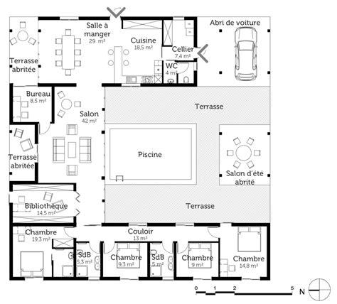amenagement cuisine surface plan maison carrée avec piscine ooreka