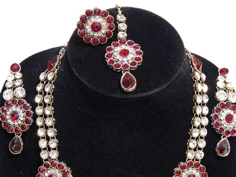 Fashion Jewelry Set India Red Long Kundan Necklace ...
