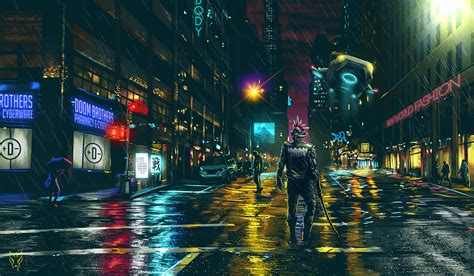 wallpaper dark cyberpunk cityscape cyberpunk