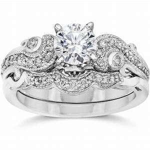 Emery 3 4ct vintage diamond filigree engagement wedding for Vintage wedding rings sets