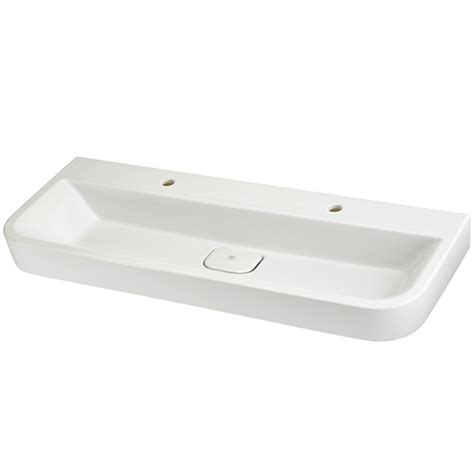 wall mounted trough sink bathroom sinks lyndon 47 inch wall hung two faucet