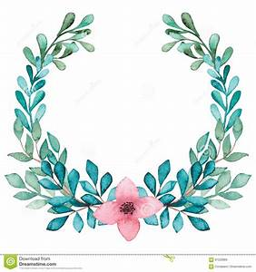 Wreath With Watercolor Pink Flower And Blue Leaves Stock ...